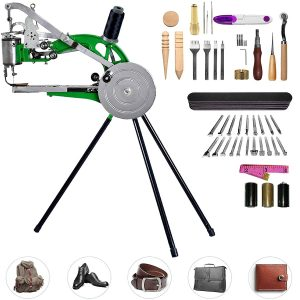Pumplus Hand Machine Cobbler Shoe Repair Machine Dual Cotton Nylon Line Sewing Machine With 48Pcs Leather Sewing Tools