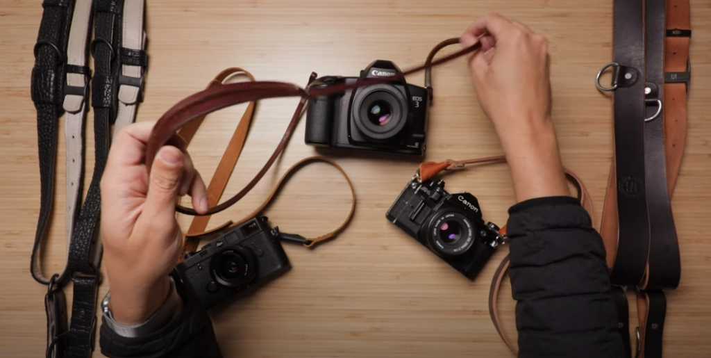 Comfort of leather camera straps