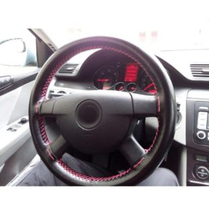 AULLY PARK Universal Car Steering Wheel Cover Genuine Leather Stitch On Wrap