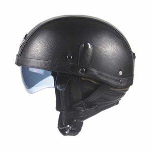 HEROBIKER Synthetic Leather Motorcycle Helmet Retro Vintage
