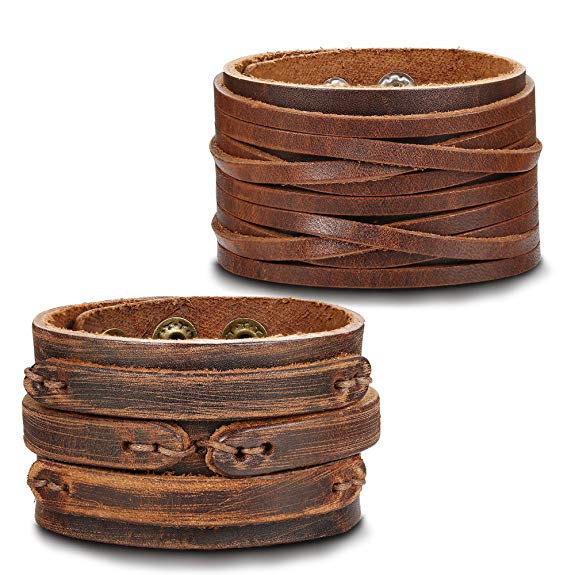 Thunaraz Handmade Genuine Leather Bracelet Adjustable Wide Brown Belt Cuff Bangle Punk Wristband