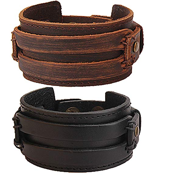 Y-blue Mens Black Genuine Leather Fashion Wristband Alloy Buttons Cuff Girls Wrap