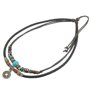 Ancient Tribe Unisex Adjustable Hemp Black Leather Choker Necklace