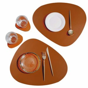 SUBEKYU Faux Leather Placemats and Coasters Set