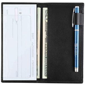 YOOMALL Leather Checkbook Register Cover Holder Case with Pen Holder Slim Wallet